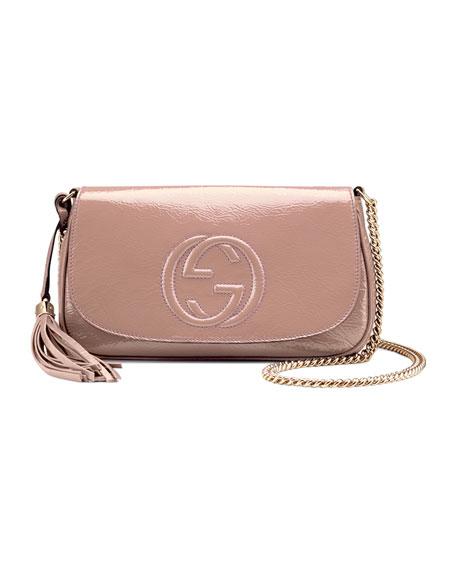 Gucci Soho Medium Patent Leather Shoulder Bag, Nude c08256ee343