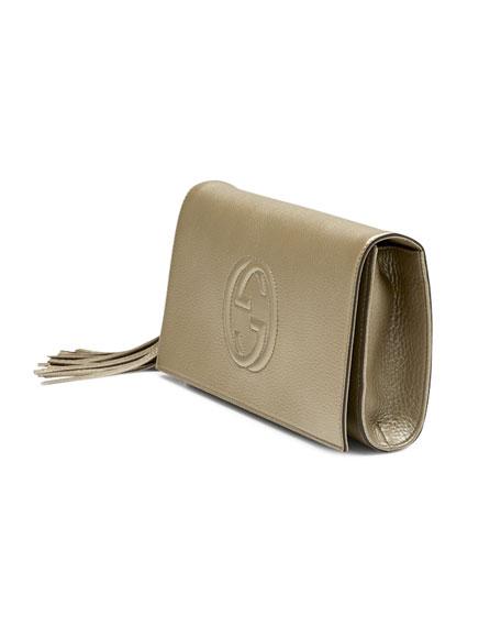 bbf9b8c8 Soho Metallic Leather Clutch Golden