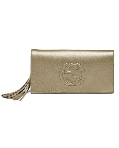 a1fe2501187a Gucci Soho Metallic Leather Clutch, Golden