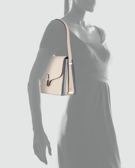 Harper Leather Flap Shoulder Bag, Beige
