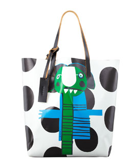 Marni Girl-Print PVC Shopping Bag, Green/Blue
