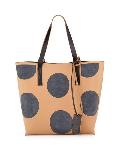 Polka-Dot Small Shopper Tote Bag, Nude/Gray