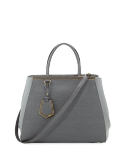 Fendi 2Jours Vitello Elite Medium Tote Bag, Gray