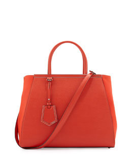 Fendi 2Jours Vitello Elite Medium Tote Bag, Red Orange