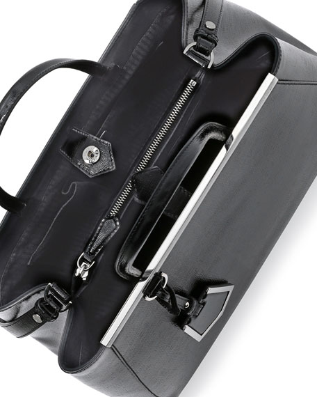 2Jours Glazed Saffiano Tote Bag, Black