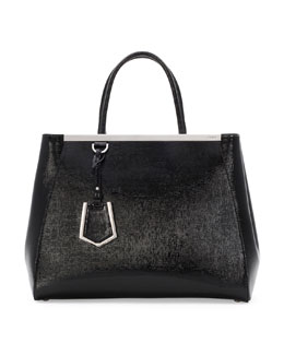 Fendi 2Jours Glazed Saffiano Tote Bag, Black