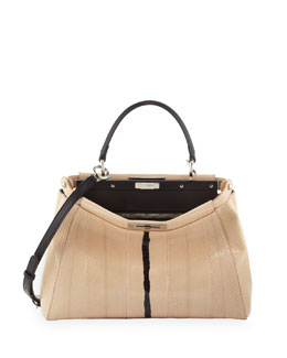 Fendi Peekaboo Snakeskin Medium Tote Bag, NudeBlack