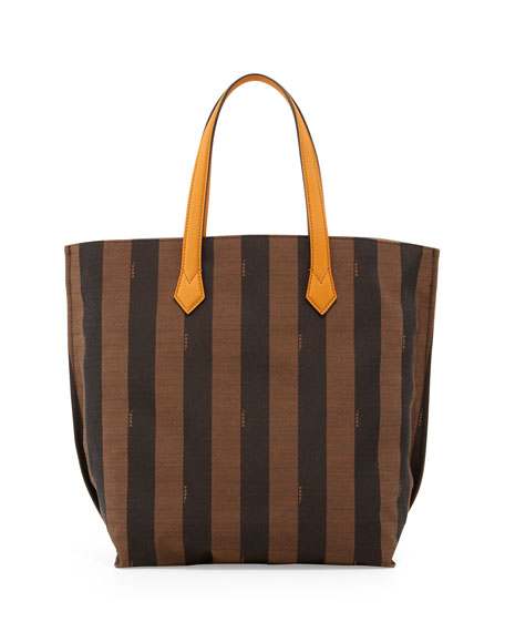 6b07288d2e Fendi Pequin Striped Shopping Tote Bag
