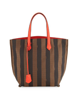 Fendi Pequin Striped Canvas/Leather Shopper Tote Bag, Brown/Red Orange