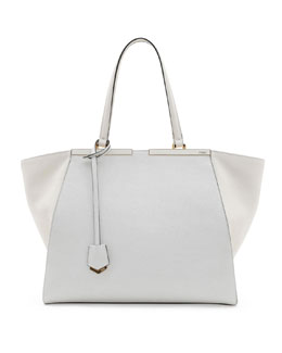 Fendi Trois-Jour Grande Leather Tote Bag, White