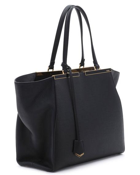 Trois-Jour Grande Leather Tote Bag, Black