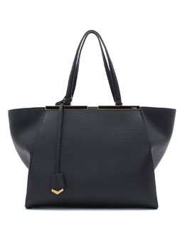 Fendi Trois-Jour Grande Leather Tote Bag, Black