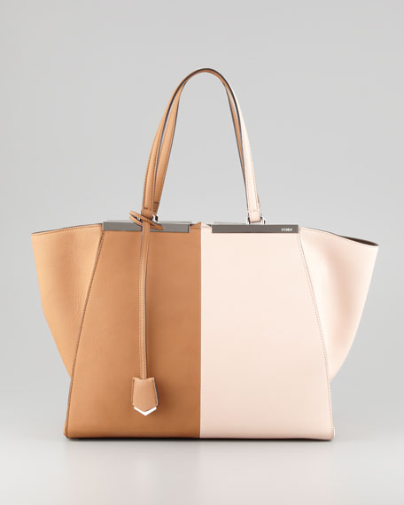 709233106ebe ... usa fendi trois jour leather tote bag brown pink 15587 6479d
