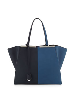 Fendi Trois-Jour Grande Leather Tote Bag, Blue