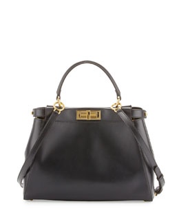 Fendi Peekaboo Leather Medium Tote Satchel, Black/Brown