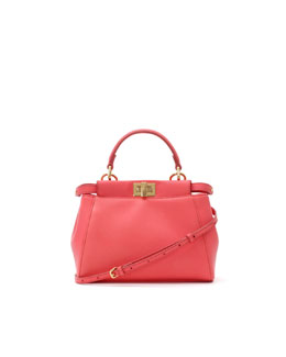 Fendi Peekaboo Mini Satchel Bag, Pink