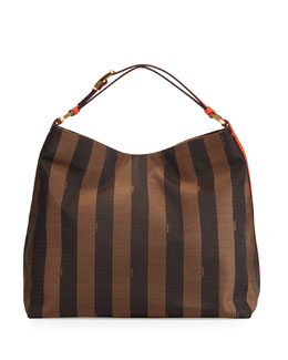 Fendi Pequin-Stripe Hobo Bag, Brown/Red Orange