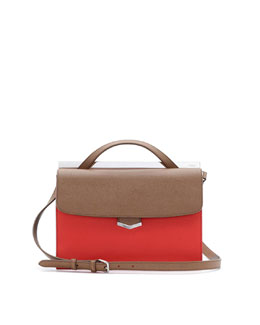 Fendi Demi-Jour Tricolor Satchel Bag, Brown/Red Orange