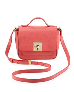 Fendi Mini Borsa Leather Crossbody Bag, Pink