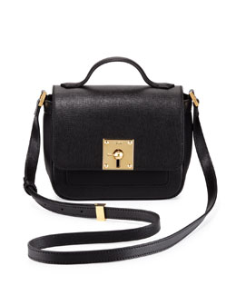 Fendi Mini Borsa Leather Crossbody Bag, Black