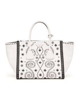 Prada Embroidered Saffiano Twin Pocket Tote Bag, White/Gray