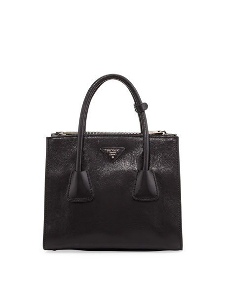 a9a58ac1cfe4 Prada Glace Calf Twin-Pocket Tote Bag, Black (Nero)