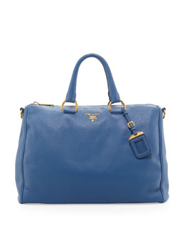 Prada Daino Zip-Top Tote Bag, Blue