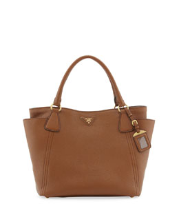 Prada Daino Side-Pocket Tote Bag, Medium Brown (Brandy)