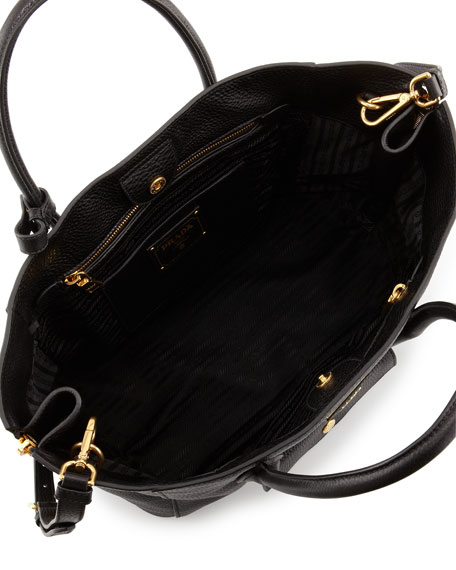 replica prada backpack - Prada Daino Side-Zip Twin Pocket Tote Bag, Black (Nero)