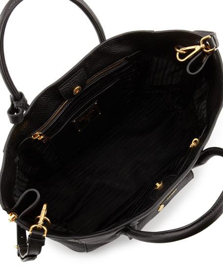 Daino Side Zip Twin Pocket Tote Bag Black Nero