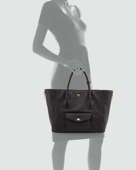 Prada Daino Side-Zip Twin Pocket Tote Bag, Black (Nero)