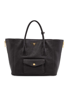 Prada Daino Side-Zip Twin Pocket Tote Bag, Black (Nero)