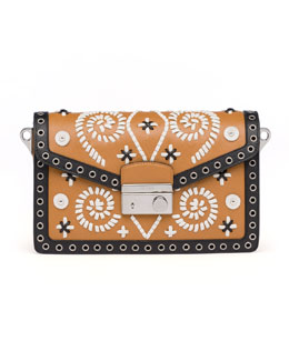 Prada Embroidered Saffiano Shoulder Bag, Brown/White