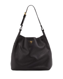 Prada Daino Single-Strap Hobo Bag, Black