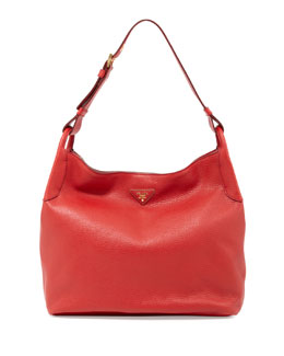 Prada Vitello Daino Single-Strap Hobo, Red (Rosso)