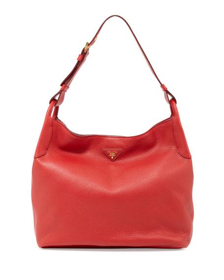 0934504efcde Prada Vitello Daino Single-Strap Hobo, Red (Rosso)