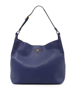Prada Vitello Daino Single-Strap Hobo, Dark Blue (Inchiostro)