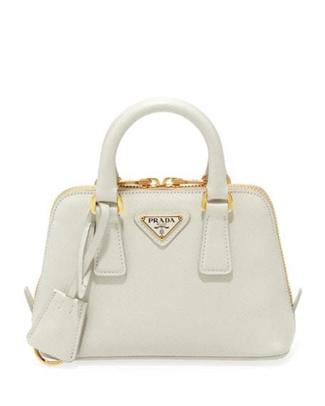Mini Saffiano Promenade Bag, White (Talco)