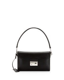 Prada Saffiano Shoulder Bag with Removable Crossbody Strap, Black