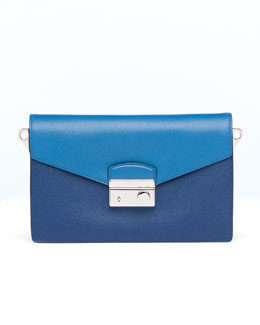 Prada Saffiano Bi-Color Shoulder Bag, Blue