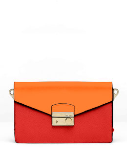 Saffiano Bi-Color Shoulder Bag, Red/Orange (Fuoco+Papaya)