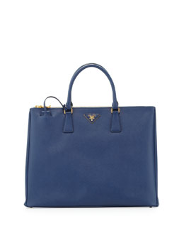 Prada Saffiano Large Executive Tote Bag,  Blue (Bluette)