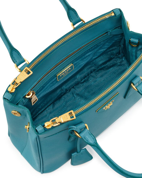 19317eab0ccc Prada Saffiano Mini Double-Zip Crossbody Bag, Turquoise (Turchese)
