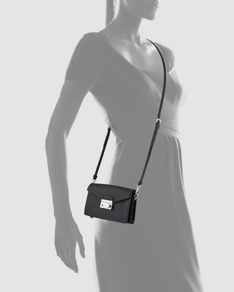 Saffiano Flap-Top Mini Bag, Black (Nero)