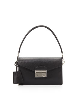 Prada Saffiano Flap-Top Mini Bag, Black (Nero)