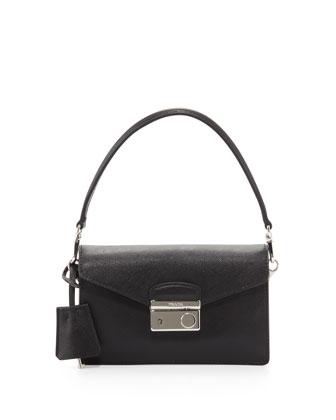 PRADA Saffiano Mini Sound Bag, Black (Nero)