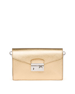 Prada Saffiano Metallic Shoulder Bag, Gold