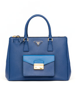Prada Saffiano Bi-Color Pocket Tote Bag, Blue/Cobalt
