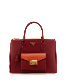 Prada Saffiano Bi-Color Pocket Tote Bag, Red/Orange