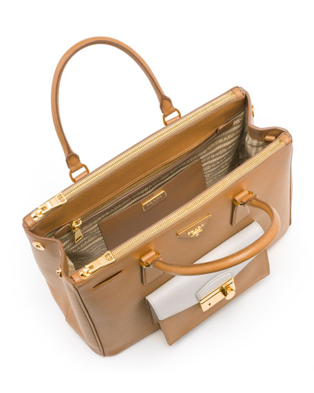 Prada Saffiano Bi-Color Pocket Tote Bag, Brown/White (Caramel+Talco) - prada frame bag caramel